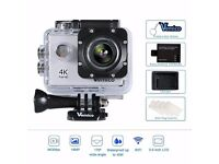 Vemico 4K Action Camera 16MP WIFI 2.0 Inch Screen Waterproof Helmet Cam with Extra 1050 mAh Battery