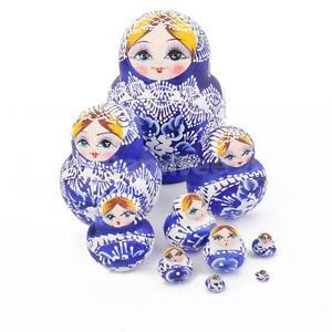 Russian Nesting Dolls 10pcs Set Blue Hand Painted Tiny Matryoshka Babushka