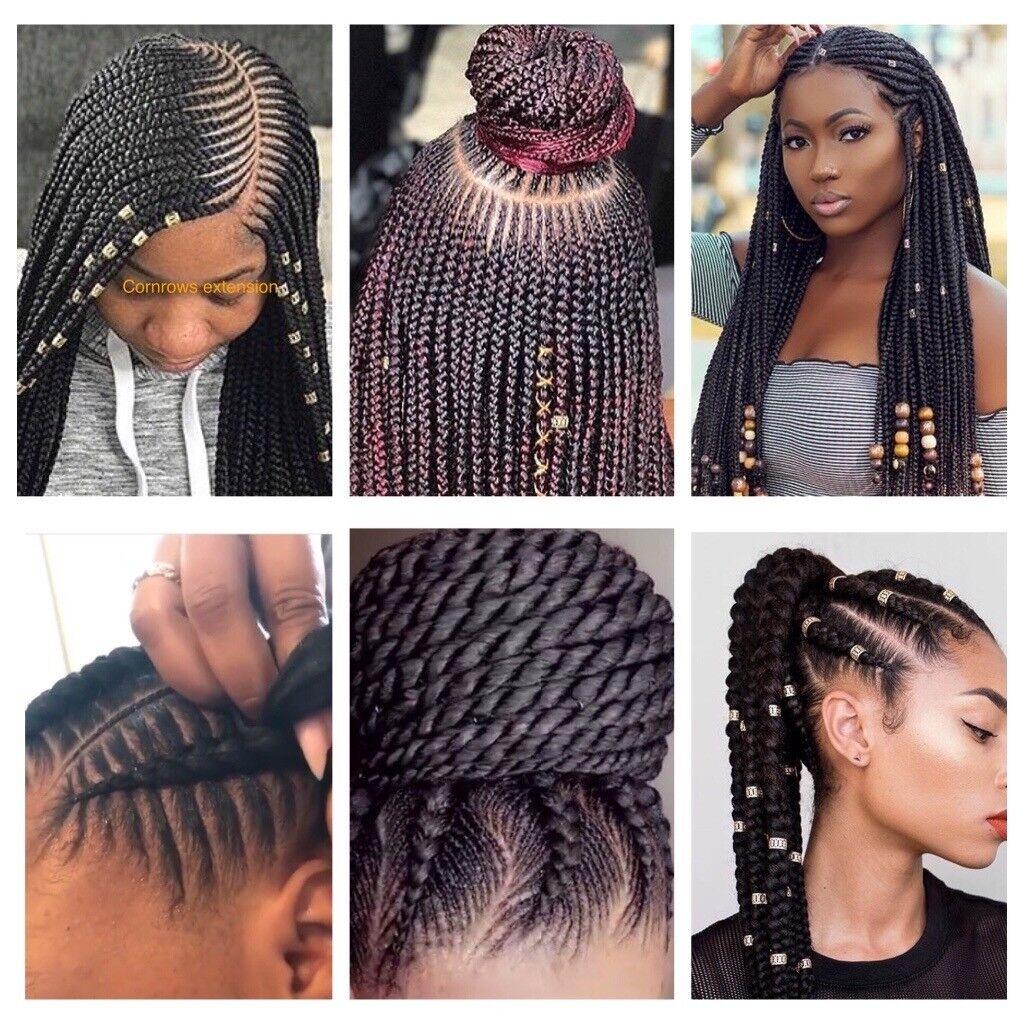 European Asian Afro Caribean Hair Braiding Box Braids Cornrows