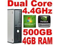 DELL OPTIPLEX DUAL CORE 4200+ 4GB 500GB WINDOWS 7 DESKTOP PC SFF COMPUTER TOWER