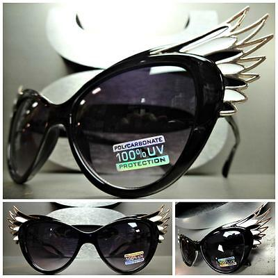 UNIQUE VINTAGE EXAGGERATED CAT EYE & WINGS Style SUN GLASSES Black & Gold (Winged Cat Eye Glasses)