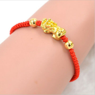 Golden Chinese Feng Shui Pi Xiu Kabbalah Evil Eye Protection Red String Bracelet for sale  China
