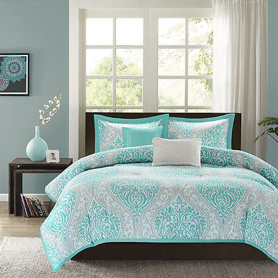 BEAUTIFUL MODERN CHIC BLUE AQUA TEAL GREY TROPICAL BEACH COMFORTER SET & PILLOWS