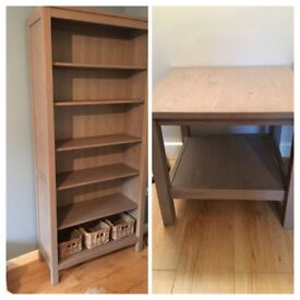 Grey/brown Ikea Hemnes shelving unit and side table
