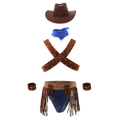 Men Sexy Cowboy Uniform Role Play Party Outfit Mankini Thong Underwear Set - Cowboy Outfit For Men