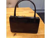 black patent original vintage handbag