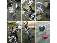 Taylormade golf set with all accessories and electric trolley