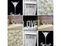 Giant LED Love & number lights plus wedding postbox, fishbowls, sweet jars, giant glasses & more