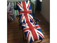 Two Union Jack sun loungers
