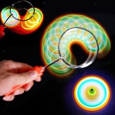 Flashing Light up Gyro Wheel Top Magnetic Metal Rail Twirler Kid Science Toy - Gyro Wheel Toy
