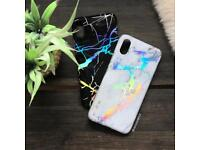 iPhone X White & Black Marble Holo Chrome Case Rainbow