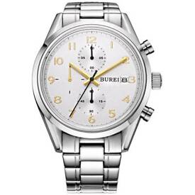 Men's stainless steel steel chronograph watch