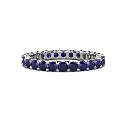 Blue Sapphire Common Prong Eternity Ring Stackable 2.31 ctw* 14K Gold -
