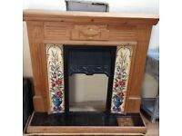 Stripped Pine & Tiled Fire Surround