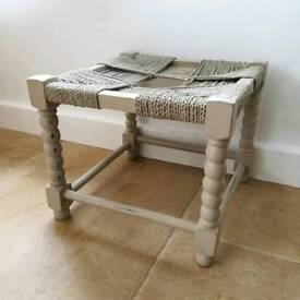 Beige rope top vintage square stool