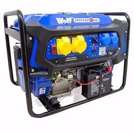 WOLF 7000W 110v 230v Dual Voltage 15HP Petrol Engine ELECTRIC START Generator.