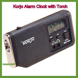 New Korjo Sml Pocket Travel Alarm Clock with Torch-Slim Loud Snooze Black/White