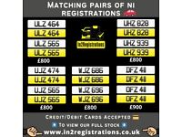Matching pairs of Number Plates from £800 - Cherished Personal Private Registration plates.