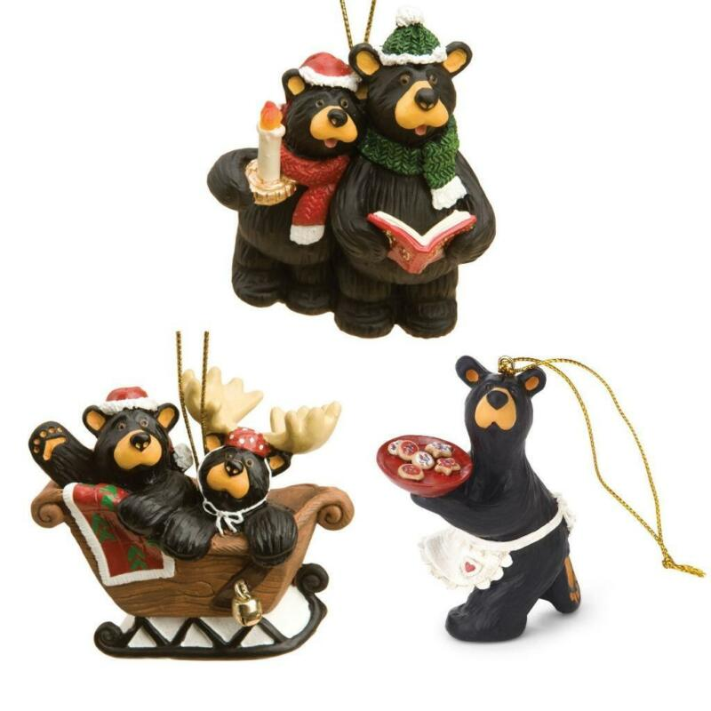 Big Sky Carvers Bearfoots Black Bear Christmas Holiday Fun Ornaments Set