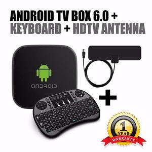 Newest G3 Certified Android Tv Box 2017 + Keyboard + HDTV Antenna - 1 year warranty