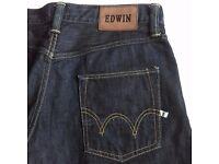 WORN ONCE EDWIN ED55 SLIM LEG TAPERED DARK WASH JEANS - W29 L32