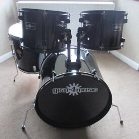 Full Size DRUMS BLACK, Bass Drum & Three Toms No Stands SHELL PACK ONLY