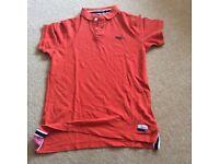 Superdry Classic Polo in orange with navy velvet tabs XXlarge