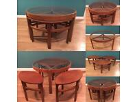 Vintage SOLD Nathan teak glass top nest coffee table retro