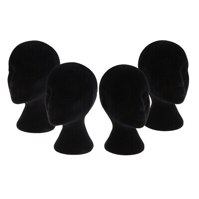 4pcs Black Styrofoam Mannequin Manikin Head Model Wigs Glasses Display Stands