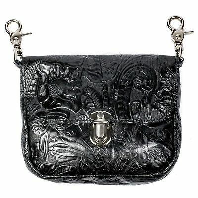 Genuine Leather Belt Bag - Hip Clip Purse - Embossed Floral - USA MADE -