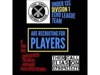 Players required for Division 1 under 13s Echo League team for the upcoming season