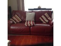 2x3Seater Leather Settee one has double recliner