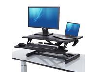 "Seville Classics AIRLIFT 30.3"" Pneumatic Sit / Standing Desk Riser New Black"