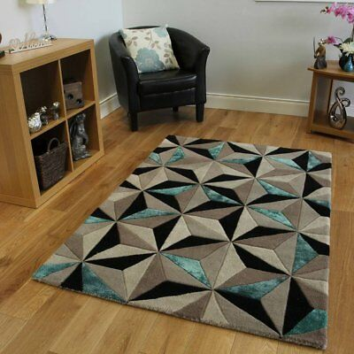 Thick Hand Carved Wool Blend Teal Blue Geometric Pattern Modern Rug - 5' x 8' ()