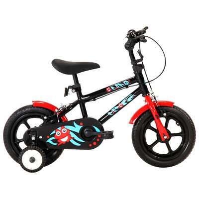 vidaXL Kids Bike 12inch Black and Red Sturdy Adjustable Children Bicycles