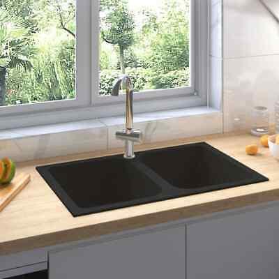 vidaXL Fregadero de Cocina Doble Seno con Rebosadero Granito Negro Decoración