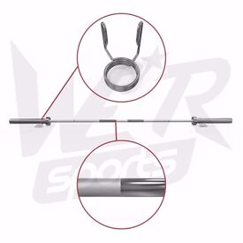 """7FT 2"""" Olympic Weight Lifting Barbell Bar With Spring Collar Gym Fitness Workout"""