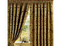 Extra Long 108in Gold/Terracotta Maybury Curtains