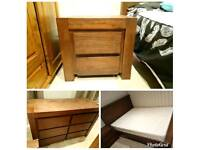 BEDROOM FURNITURE * 3 PIECES * KING SIZE BED, DRAWERS, BEDSIDE TABLE * JOHN LEWIS * HARD WOOD