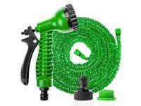 100 ft Expanding Flexible Garden Hose pipe Expandable + Spray Gun - Blue and Green