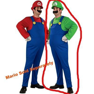 Herren Erwachsene Super Mario Bros. Luigi Kostüm - Übergröße Mario Kostüm