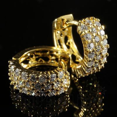 18K Gold ICED OUT AAA Simulate Diamond Micropave Huggie Hoop Hip Hop Earring H3G