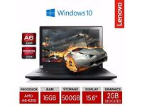 "Lenovo B50-45 15.6"" Quad Core Gaming Laptop AMD A6-6310 16GB RAM 500GB HDD Win10"