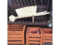 Handmade wheelbarrow planter