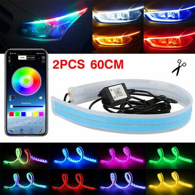 2X 60CM APP RGB Slim Sequential Flexible LED DRL Turn Signal Strip Car Headlight