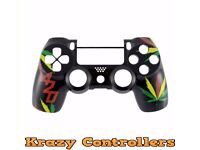 PS4 Wireless Controller Custom Weed Replacement Front Shell Faceplate - JDM-040 - New