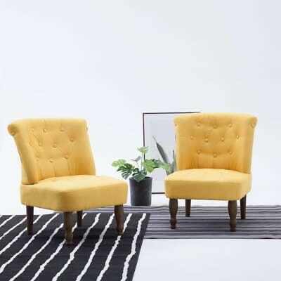 vidaXL French Chair Elegant Sturdy Yellow Fabric Home Furniture Sofa Seating
