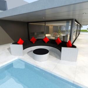 vidaXL Outdoor Garden Half-round Sofa Set Poly Rattan Wicker White Lounge