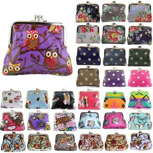 Ladies-Cupcake-Flower-Polka-dot-Owl-Butterfly-Oilcloth-Coin-Purse-Girls-Wallet
