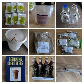 Beer brewing set and ingredients